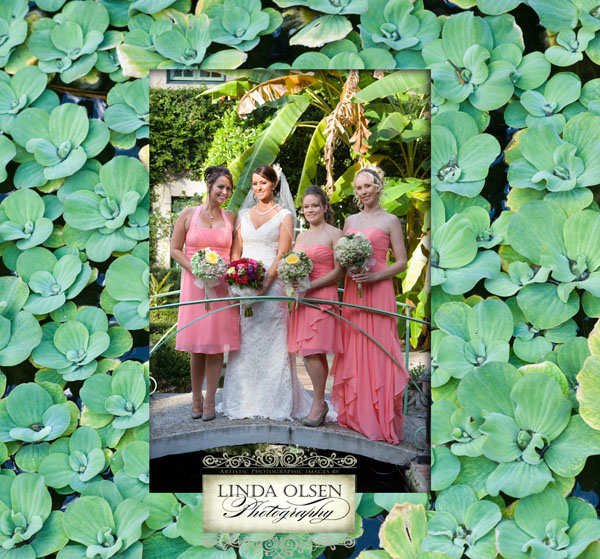 Stacy and her best friends before her wedding ceremony stand on the little bridge over the koi pond. The frame is made from the plants in the pond.