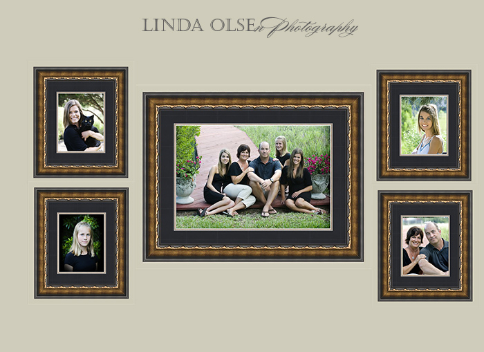 Displaying your professional portraits on your wall can be done attractively by choosing the frames to coordinate with the furniture. This display for the family of five worked out nicely.