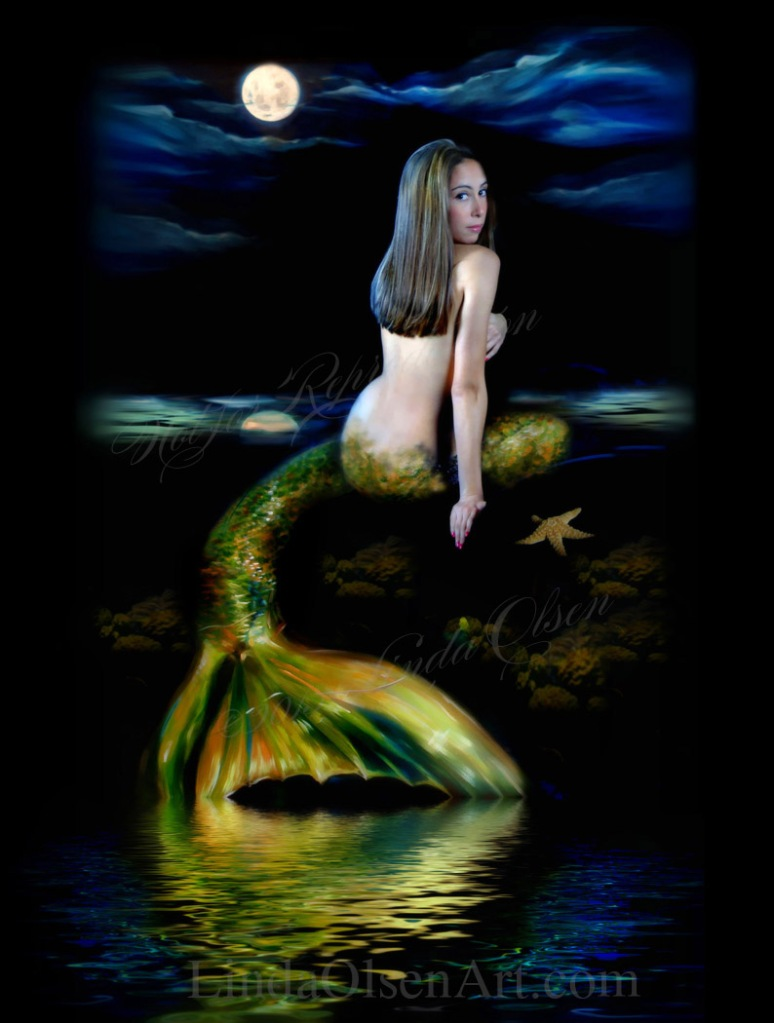 I have been doing mermaid portraits for the last decade and have done some with babies and children with their mothers as well. It takes a middle stage of actually painting a tail and some of the coral reef and all on a canvas and photographing that and cloning it in with the subject photo. Then I add fish and seaweed and other elements to create the vision I have. Each image is different. You too can be a mermaid!! Contact me for more information at lindaolsenart@gmail.com