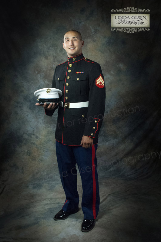 Michael just received honors and his proud mom, Patti wanted to get a formal portrait of him.  It was a hot morning and the dress blues were hot so we did all of the shots in the studio to keep cool and have more of a traditional look.