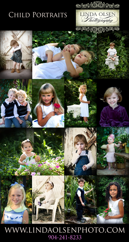 Many family portraits are done in a park or garden setting. I spend most of my time doing individual portraits of each person in the family...trying to get their personalities to shine through. Children are the most challenging and there are times when I must nicely remind the parents to hold back and let me gain their trust. Fortunately, over the years, I have created a great spot in my back yard with stone benches, ivey and bushes, sometimes flowers, antique doors and greek columns. I positioned the props in places that work with the light perfectly at certain times of the day.