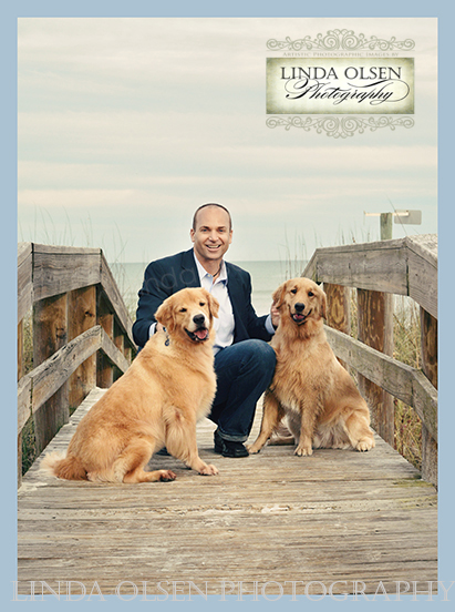 Mark Macco, a Jacksonville architect with Mark Macco Architects wanted a portrait for a magazine cover and article on the beach with his two goldens. The light the afternoon we shot was rather grey and the dogs a handful but still, we were successful capturing Mark is a natural setting. He is building his spectacular home very close to where we shot.