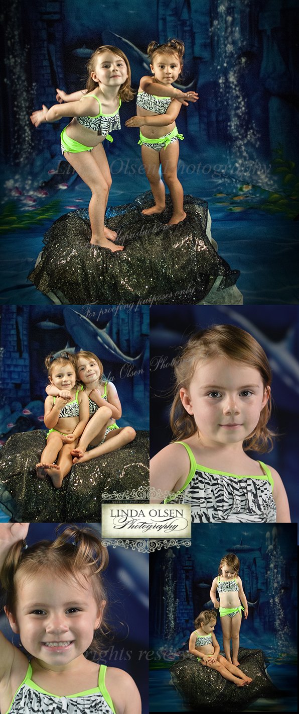 I did the photo session in my studio for a fine art fantasy portrait for Willow and Magnolia. AS little girls, she wanted to be mermaids and had the most fun ever in a photo session. They didn't want to end posing for me even though normally, both can be on the shy side. I have photograqphed them both since they were days old so they have gotten to know me a bit but the fact that they were in MAKE BELIEVE mode, they really did well. The next step is for me to choose the image that will work best and then I will paint on a canvas the tales and add fish and other effects to make it a complete underwater scene. I have included a similar portrait I did for Samantha of Atlantic Beach and her two babies when it was completed. After I clone the painted tails and all, I will post the final photo painting.