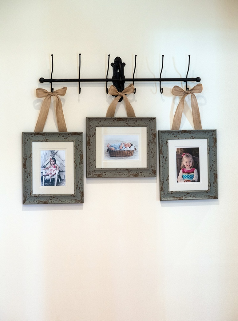 When I went to the Peterson home to do Charlie's 4 month photos, I was so thrilled to see that Jennifer had taken my ideas for displaying some of the images I shot for her family over the years. It looked adorable.
