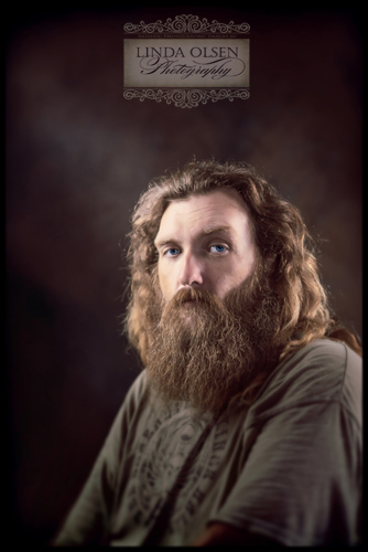 """Jerry Noble has been a friend and has helped us over the years with building projects and yard work. I wanted to take a photo of him for awihile because his appearance is so different from his sweetness. He was going to trim his beard and cut his hair some for a job interview so I took this """"before"""" shot."""