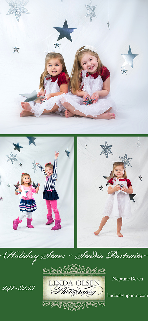 I created this backdrop idea for the Peterson sisters and want to promote this idea to other clients. It would work for a small family as well and is simple enough for a lot of holiday cards. I bought the various stars and hung them on threads from my ceiling. The girls had fun being among the floating stars. I am g=having a special until Dec 15 on studio mini portraits so give me a call.