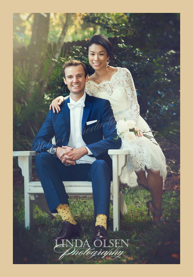 When this couple got married in a courthouse, they did not have an opportunity to get some nice photos so I posed them recently in the garden along with family. Loved the groom's socks!
