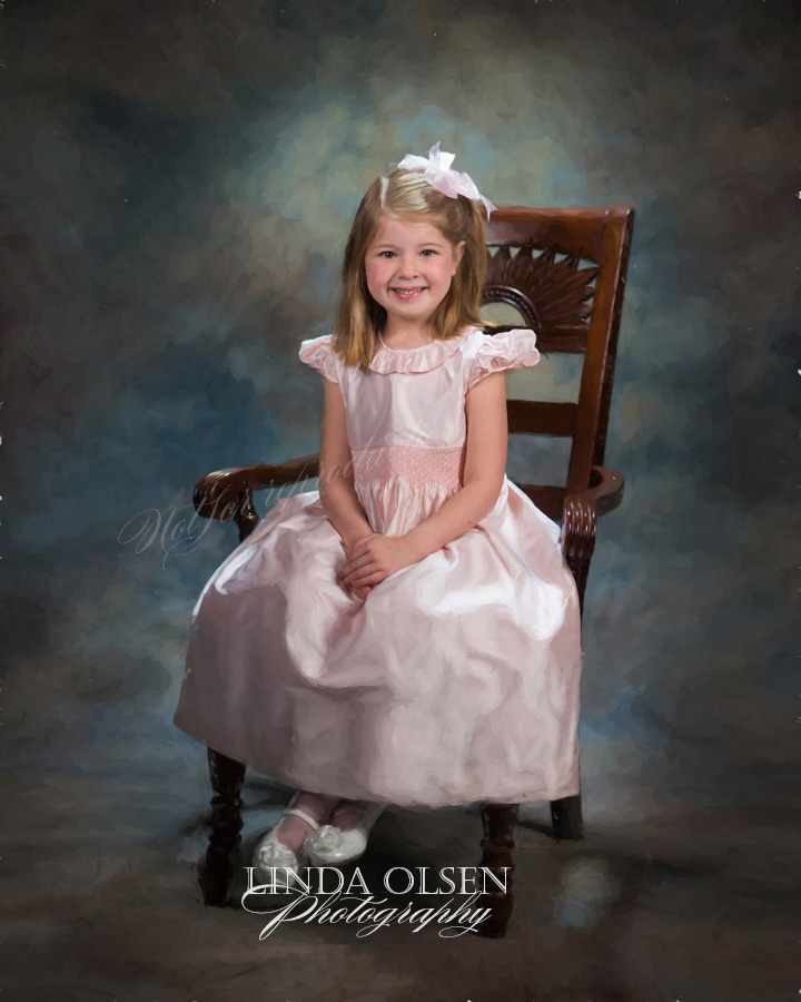 I photographed this beautiful six year old in my studio and her grandmother in North Carolina wanted a painterly effect. I  spent many hours trying different strokes and effects. This is the final image that is being printed on canvas and then I will add varnish brushstrokes.